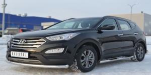 Hyundai Santa Fe 2012- Защита переднего бампера d76 (секции)  HSFZ-001218